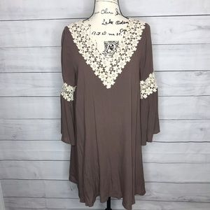 Entro taupe boho dress with crochet lace M